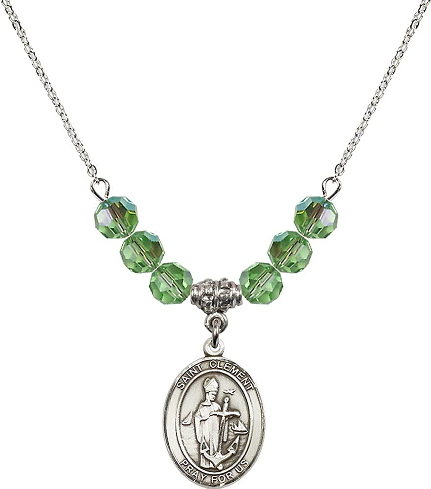 18-Inch Rhodium Plated Necklace with 6mm Peridot Birthstone Beads and Sterling Silver Saint Clement Charm.