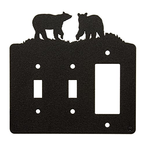 Bear Double Light Switch and Rocker Switch-GFCI Power Outlet Plate Cover