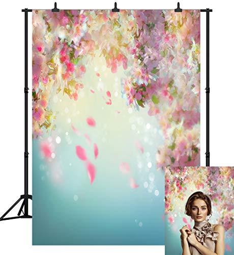 - DePhoto 5X7FT(150X210CM) Pink Flower Wall Seamless Vinyl Photography Newborn Backdrop Photo Background Studio Prop PGT137A