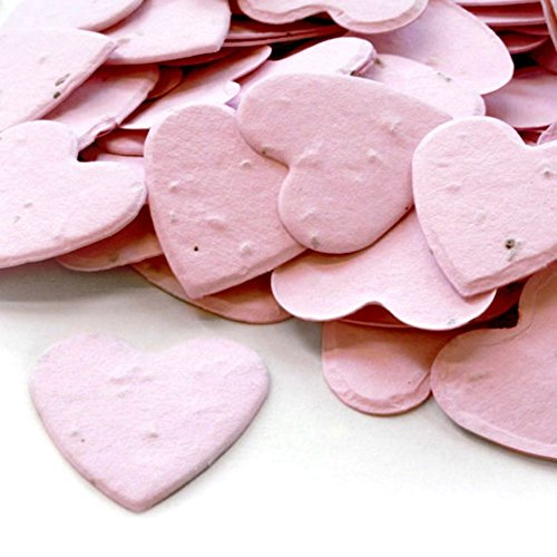 (Heart Shaped Plantable Seed Confetti (Pink) - 350 pieces/bag)