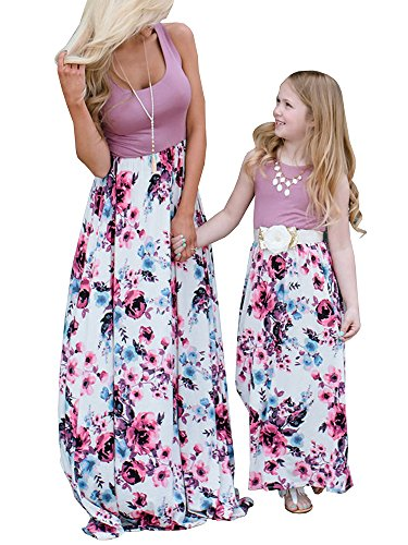 Geckatte Mommy and Me Dresses Casual Floral Family Outfits Summer Matching Maxi Dress Different Outfits