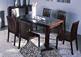 BH Design Reflex Dining Table with Black Glass Top and Side, Wenge Frame For Sale