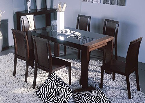 BH Design Reflex Dining Table with Black Glass Top and Side, Wenge Frame