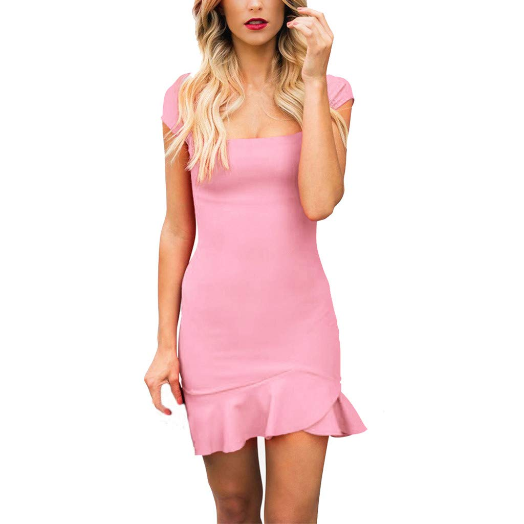 Women's Casual Solid Dress Short Sleeve Ruffle Hem Slim Fit Summer Dresses (M, Pink)