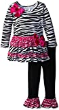 Bonnie Jean Little Girls' Zebra Print Tiered Legging Set