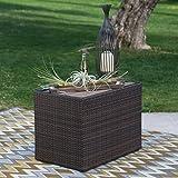 Modern Coral Coast All-Weather Rectangular Dark Brown Outdoor Wicker Side Storage Table