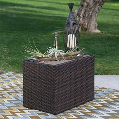 Modern Coral Coast All-Weather Rectangular Dark Brown Outdoor Wicker Side Storage Table (All Weather Brown Wicker)