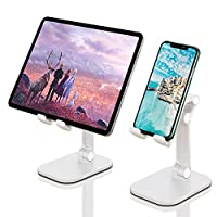 Cell Phone Stand, APUWiiO Angle&Height Adjustable Desk Phone Holder with Stable Anti-Slip Design,Foldable Cell Phone Holder,Compatible with iPhone All Mobile Phones,Pixel,iPad,Tablet,Kindle(4-12.9in)
