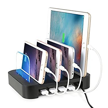 [2016 Newest Version] Charging Station, WinTech Detachable Universal Multi-Port USB Charging Station [24W 4-Port USB Charging Dock] Desktop Charging Stand Organizer Fits most USB-Charged Devices