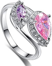 Veunora 925 Sterling Silver Created Amethyst & Rainbow Topaz Filled Twist Ring for W