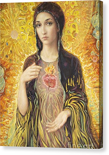''Immaculate Heart Of Mary Olmc'' by Smith Catholic Art, Canvas Print Wall Art, 11'' x 14'', Mirrored Gallery Wrap, Glossy Finish by Pixels
