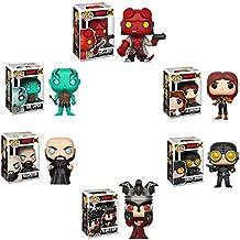 Hellboy Comic - Hellboy with Jacket, Liz Sherman, Abe Sapien, Lobster Johnson, Rasputin, Nimue The Queen of Blood Pop Vinyl Figure - Set of 6 and Keychain