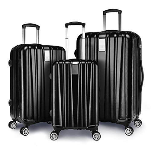 Suitcase 4 Wheels (Windtook 3 Piece Luggage Sets Spinner Suitcase Bag for Travel and Business-M6601 Black)