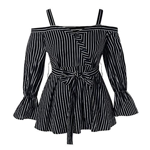Fashion Womens Button Plus Size Open Shoulder Belted Stripe Blouse Shirt Tops Black