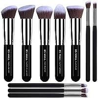BS-MALL (TM) Pinceles de maquillaje Pincel de maquillaje de primera calidad Kit de pinceles de maquillaje de Kabuki sintético Cosmetics Foundation Blending Blush Eyeliner Face Powder Pincel de maquillaje Pincel de maquillaje (10 piezas, Negro Plata)