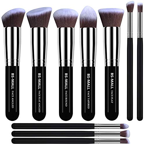 BS-MALL(TM) Makeup Brushes Premium Makeup Brush Set Synthetic Kabuki Makeup Brush Set Cosmetics Foundation Blending Blush Eyeliner Face Powder Lip Brush Makeup Brush Kit(10pcs, Silver Black) -