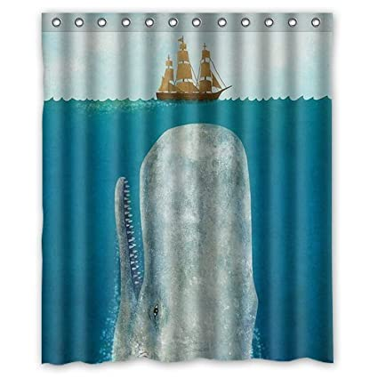 Fashionable Bathroom Collection Custom Waterproof Whale Shower Curtain 60quot X 72quot