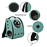 MESASA Pet Carrier Backpack Space Capsule PU Leather Dog Cat Small Animals Travel Bag dark Green