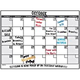 """Wall26® Dry Erase Calendar Decal Peel and Stick Monthly Wall Planner (Marker Included) - 24"""" x 36"""""""