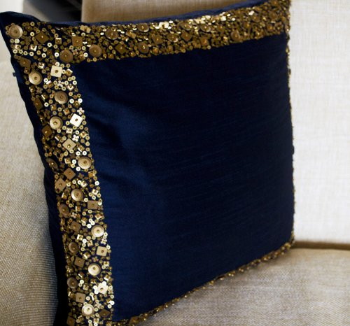 Amore Beaute Handcrafted Throw Pillow Covers - Navy Blue Cushion Cover with Gold Sequin Details - Decorative Pillow Cover - Navy Blue Cushion Covers - Gold Sequin Pillow Cover - Regal Cushion Cover (20x20)