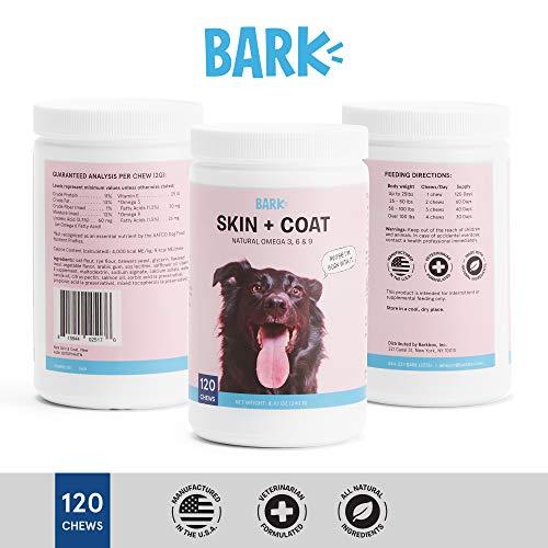 BarkBox Dog Skin & Coat Supplement for Healthy Shiny Skin & Coat with Omega 3, 6 & 9-120 Chews/Treats