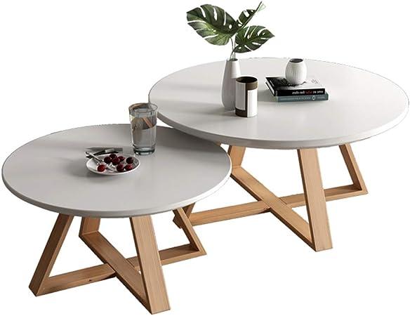 Las mesas de Centro Redondas de Madera Modernas de la Mesa de Centro del Lado de la jerarquización mesas del Extremo fijan con la Mesa de Madera, Muebles nórdicos del diseñador: Amazon.es: