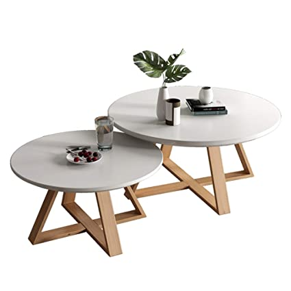 Modern Wooden Coffee Table Round Nesting Side Table Sofa End
