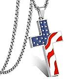 LOLIAS American Flag Cross Necklace for Men Women Enamel Pendant Necklace Religious Jewelry