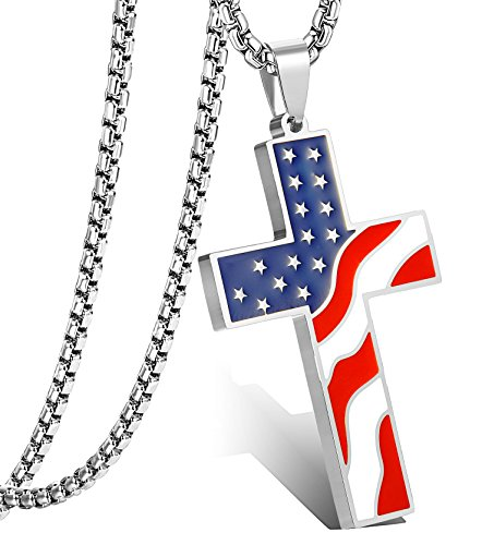 LOLIAS American Flag Cross Pendant Necklace for Men Women Enamel Necklace Religious Jewelry Sliver-Tone ()