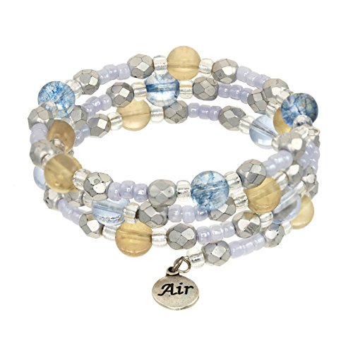 (Elements Triple Coil Gemstone & Crystal Beaded Bracelets (Air Element))
