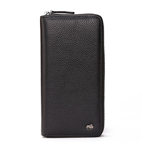 BISON DENIM Mens Long Wallet Genuine Leather Billfold Zip Around Check Book Wallet Card Holder with Coin Pocket