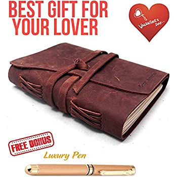 """Refillable Leather Journal Writing Notebook 3 In 1 with Premium Gold Pen and Luxury Box- Handmade Travelers Notebook 240 Unlined Paper standard 7X5"""" - Best Gift for Travel Diary (Brown, 7x5)"""