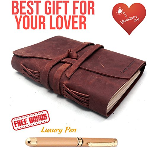 Refillable Leather Journal Writing Notebook 3 In 1 with Premium Gold Pen and Luxury Box- Handmade Travelers Notebook 240 Unlined Paper standard 7X5