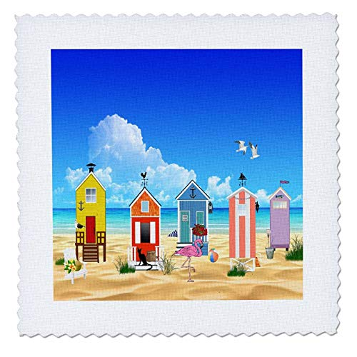 (3dRose lens Art by Florene - Flamingo And Beach Art - Image of Colorful Beach Huts With Flamingo On Ocean - 10x10 inch quilt square)