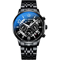 CUENA Men Waterproof Business Watch Luxury Stainless Steel Dress Watch Quartz Analog Wrist Watch Black