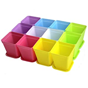 WARMBUY Colorful Plastic Plant Pots with Saucers, Set of 12