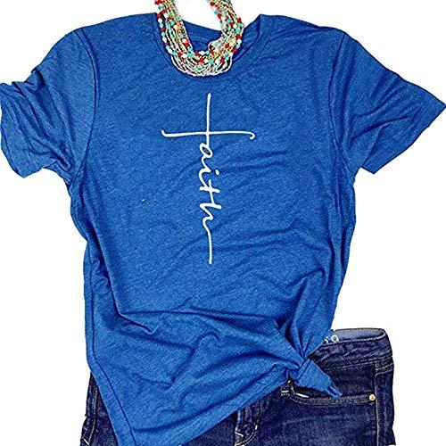 (Woxlica Faith Christian T Shirts Women Short Sleeve Blue Graphic Tee Tops S)