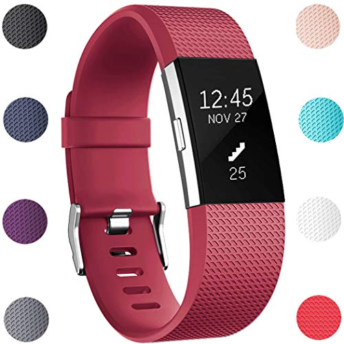 (GEAK Bands Replacement for Fitbit Charge 2, Adjustable Sports Wrist Bands for Fitbit Charge 2, Large Deep Red)
