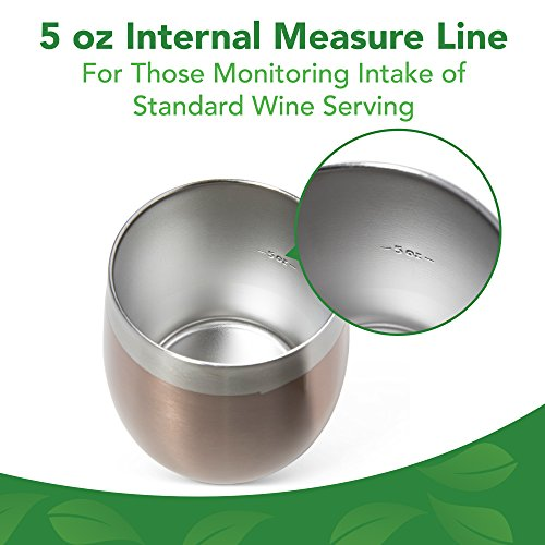Stainless Steel Wine Glasses, Set of 2 - Double-Walled, Eco-Friendly, Unbreakable Stemless Drinking Glass with Lid - Food Grade and Vacuum Insulated Outdoor Tumblers (8 Oz.) by Ecotugo (Image #4)