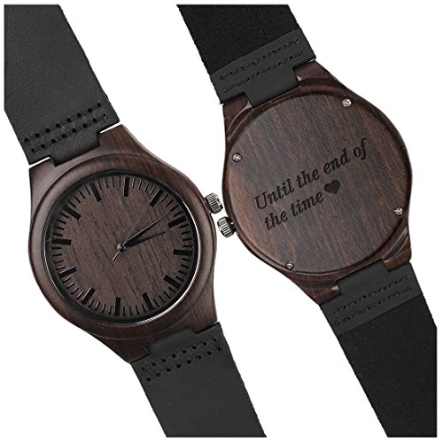 Personalized Wooden Wrist Watch - Until the End of the Time - Unique Wedding Anniversary Gifts for Husband Boyfriend by KOSTING