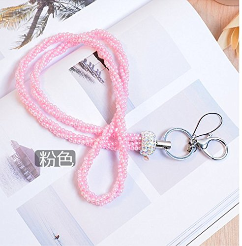 Surpriseyou(TM) String of Pearls Long Neck Strap Lanyard Keychain Keyring Holder Necklace for Cell phone iPod mp3 mp4 USB Flash Drive Keys ID card badge Eyeglass Holder (Pink)