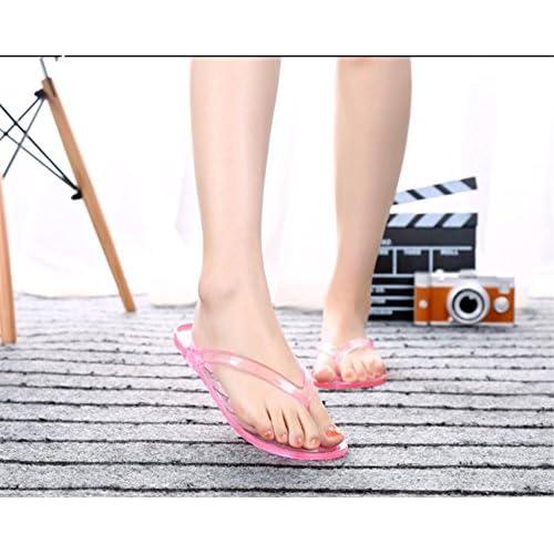 YUNGUANG Été pantoufles femme transparente couleur plate anti-dérapant plage maison bain chaussures clip-toe sandales femme (Color : Rouge, Taille : 40EU)