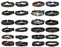 Finrezio 24 PCS Black Braided Leather Bracelets Set for Men Wrap Cuff Bracelet Adjustable