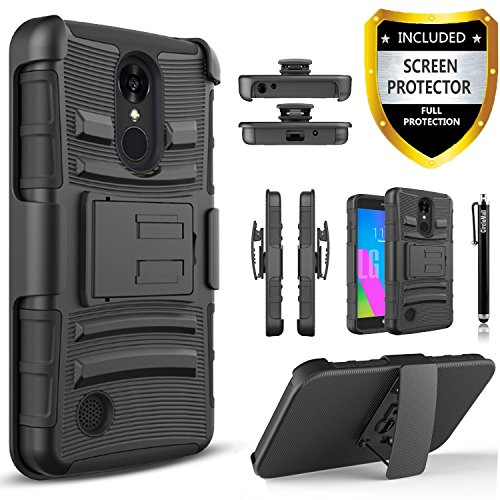 LG Aristo / LG V3 MS210 / LG LV3 / LG K8 2017 Case, Dual Layers [Combo Holster] And Built-In Kickstand Bundled with [Premium HD Screen Protector] Hybird Shockproof And Circlemalls Stylus Pen Black