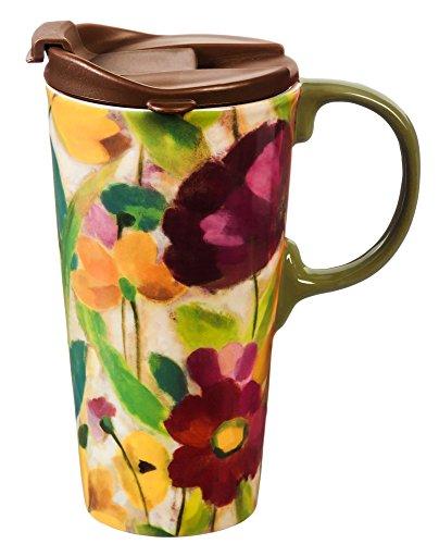 Cypress Home Brilliant Garden Ceramic Travel Coffee Mug, 17 ounces (Home And Garden Mug)