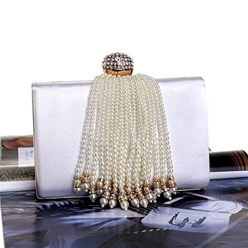 soirée sac nuptiale 5x12x18cm Bourse en soirée de blanc le de Pour soirée cristal de diamant mariage femme 2x5x7inch de Sac Blanc de mariage de pour bal qgwPZqH8