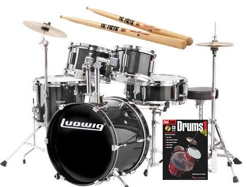 ludwig-junior-black-drum-set-bundle-with-vic-firth-american-classic-5a-drumsticks-and-fasttrack-drum