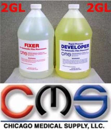 CMS X-Ray Film Automatic Rapid Processing DEVELOPER & FIXER Replenisher Combo Pack Case 2GL Each (4GL Total) Xray