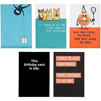 Hallmark Shoebox Funny Belated Birthday Card Assortment 5 Cards With Envelopes