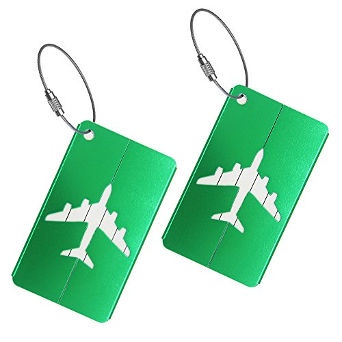 Set of 2 Luggage Tags Labels, Aluminum Metal Airplane Travel Suitcase Bag Baggage ID Name Address Tag Label with Screw Chain, Green